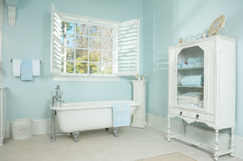 This Contemporary Clean Bathroom Is Mostly White With Light Aqua Walls And Matching Accents