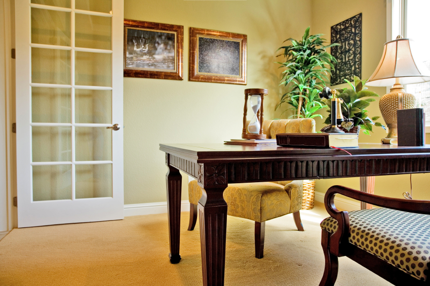 here we have a cozy traditionally appointed home office with ornate writing desk and best colors for home office