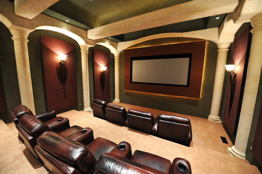 add grand architecture to this spacious three level home theater