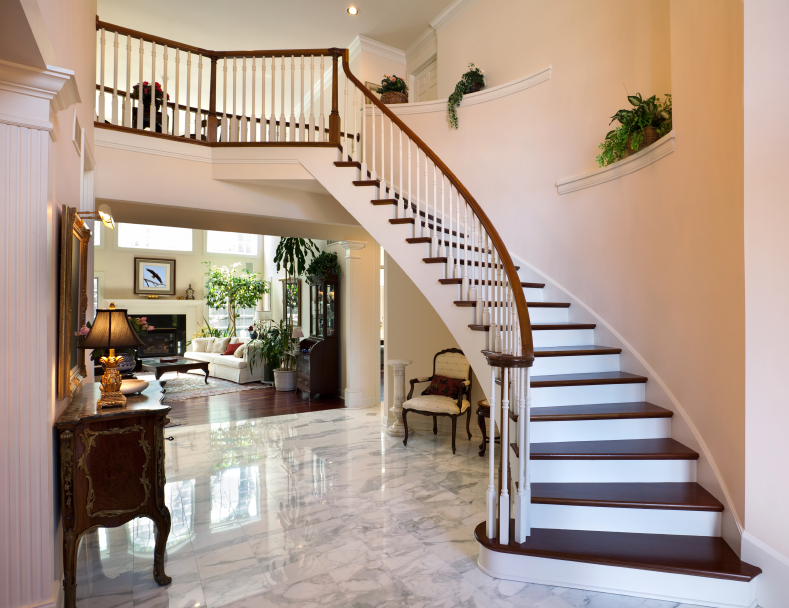This staircase has multiple tiers built into the walls to display greenery   The gray and. 46 Beautiful Entrance Hall Designs and Ideas  Pictures