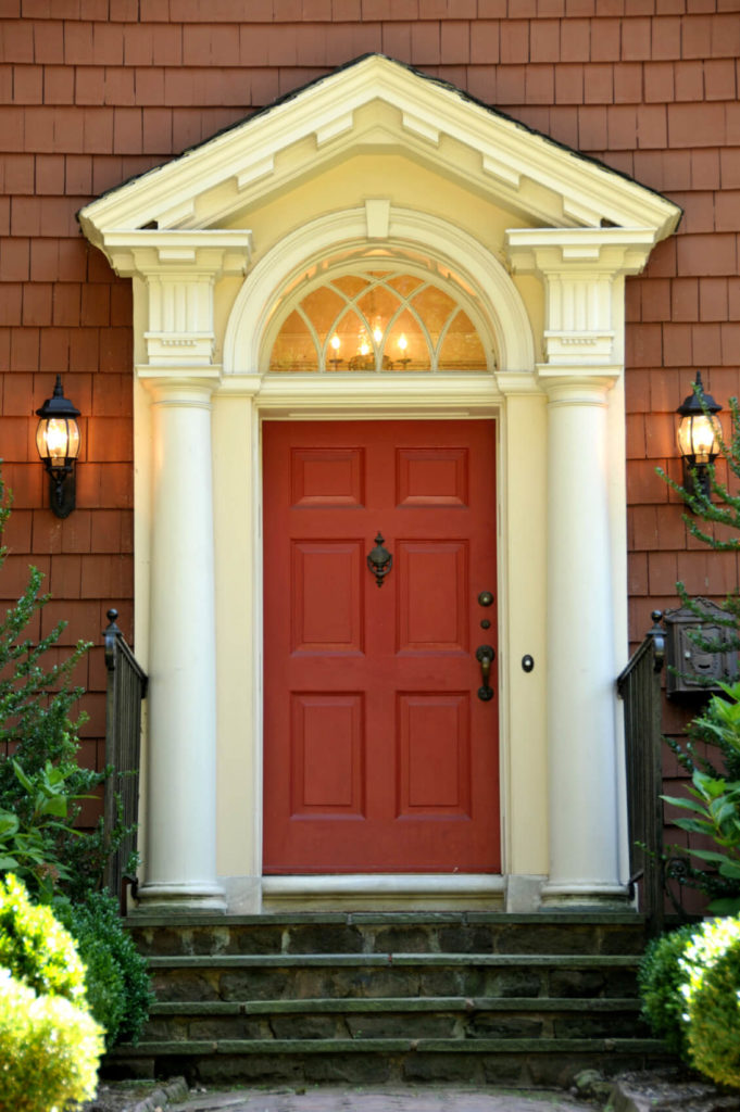 The red of this door is a more muted shade of brick-red which & 35 Different Red Front Doors (Many Designs u0026 Pictures)