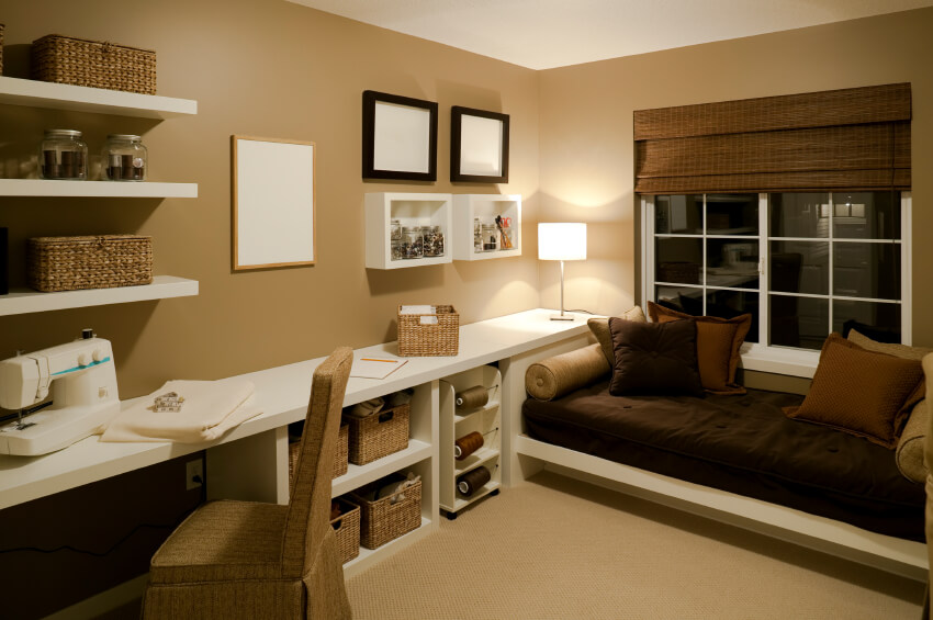 Home Study Design Ideas interior home design home study designs ideas brown leather movable office chair feature varnished This Study Is Purpose Built For Crafting With Shelf Mounted Yarn Spools And An Array