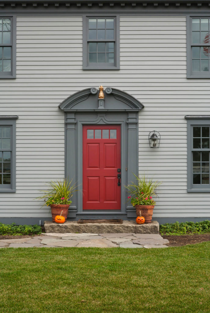 Interesting 70 Gray House Red Front Door Inspiration Of