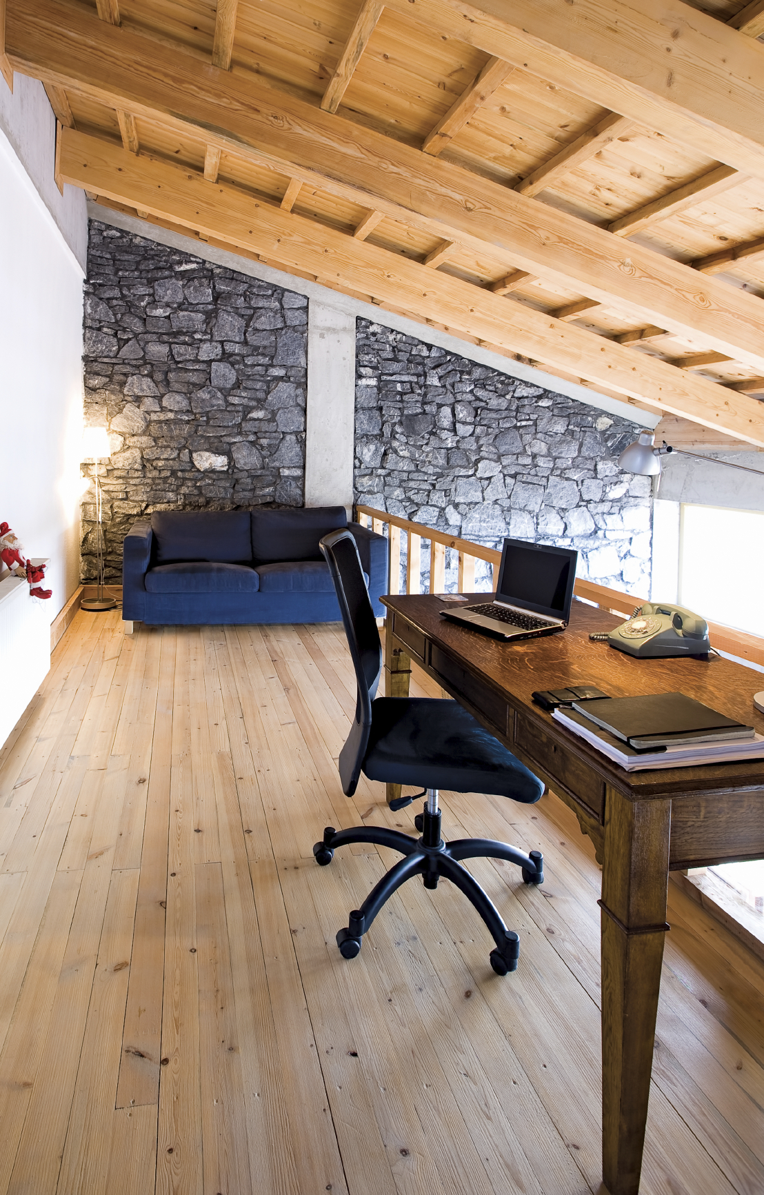 rustic styled home, this office holds a traditional wood writing desk ...