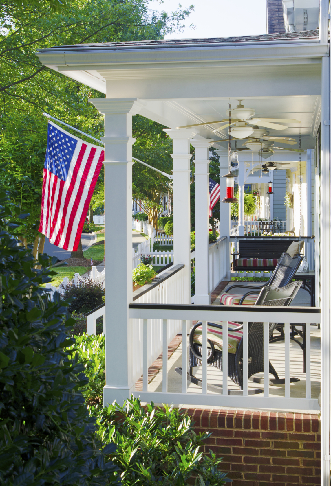 Front Porch Design Ideas front steps in the fall in tritmonk exterior design idea An All American Home With Brick And White Wood Supports Rocking Chairs And A