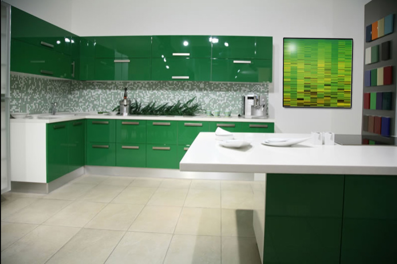 Another Modern Kitchen This Time In Bright Green The Glossy Cabinets