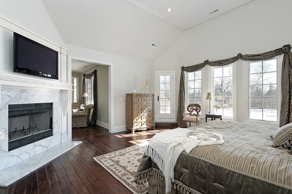 50 impressive master bedrooms with fireplaces photo gallery for Bedroom marble flooring designs