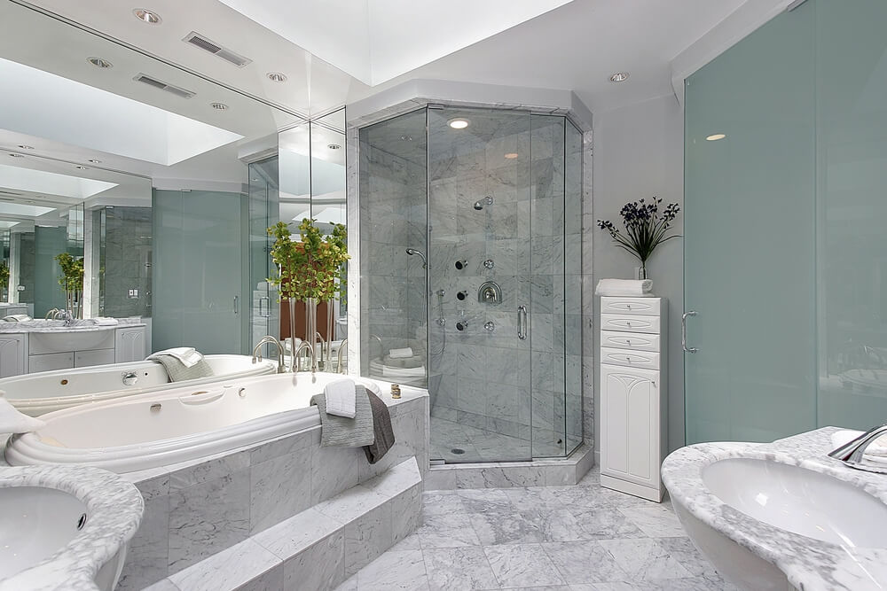 upscale blue master bathroom - Master Bathrooms Designs