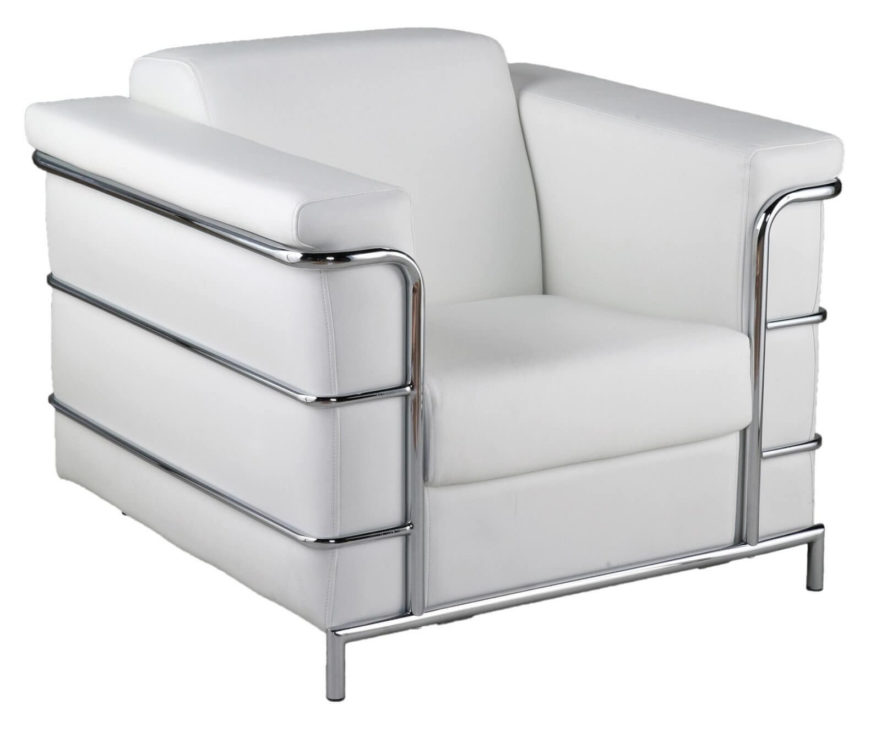 This Club Chair Is A Modern Styled Creation, With Pristine White Leather  Wrapping A Boxy .