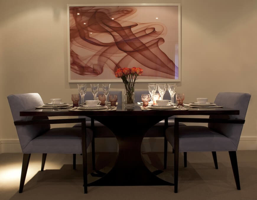 The Light Dusky Purple Dining Chairs Contrast Softly With The Rich, Dark  Wood Of The