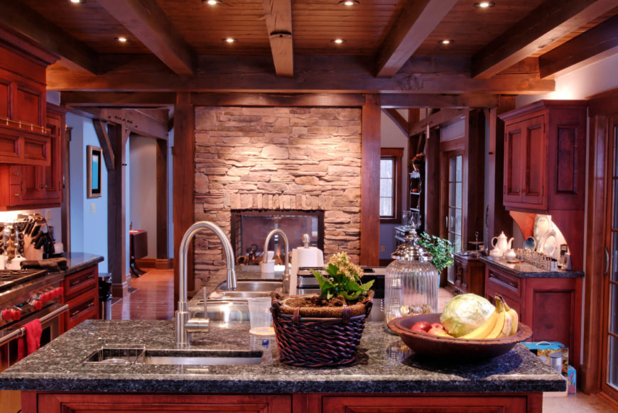 French Country Kitchen With Charcoal Gray Granite Countertops And