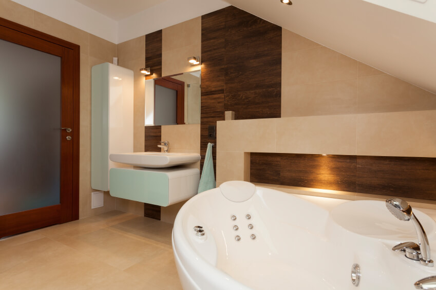 A Soaking Tub With Jacuzzi Jets Becomes Visible From This Angle Of The  Previous Bathroom.