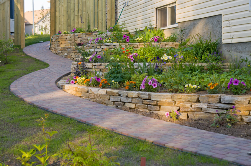 Jogging Path Retaining Wall Design Photos, Patio Kings