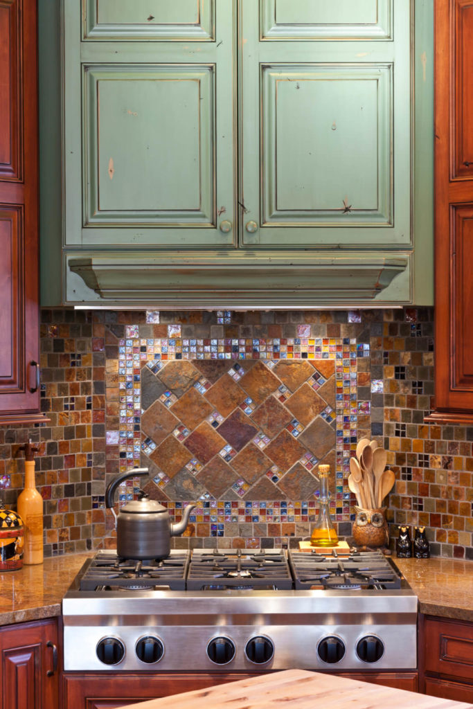 Glass Accent Tile Kitchen Backsplash