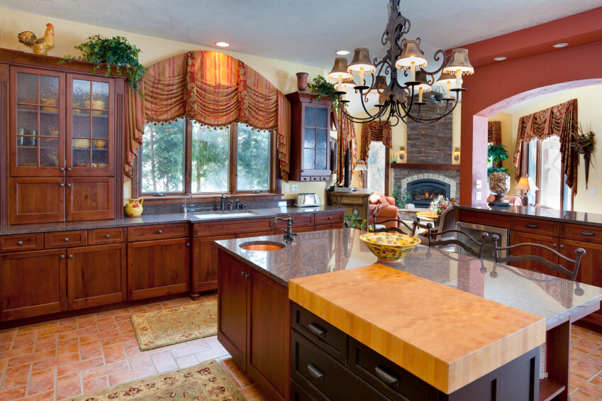 An English Country Kitchen With Heavy Patterned And Tasseled Drapery And  Floral Area Rugs. The Part 12