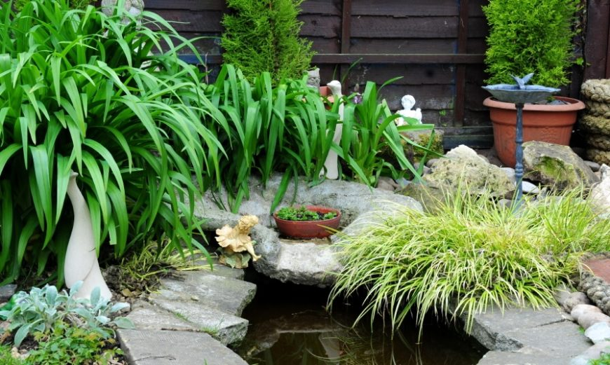 A Well Like Garden Pond With A Small Fountain That Pours Into The Deeper  Well