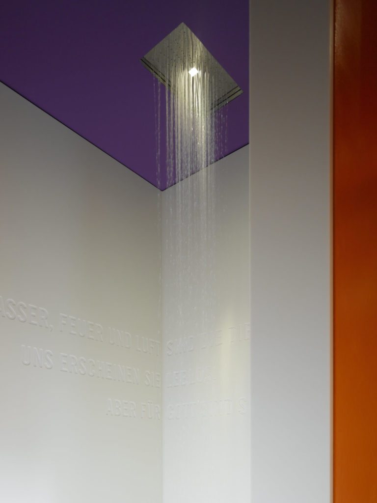 A rainfall shower head is built directly into the ceiling.