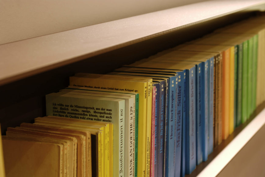 Here's a close-up view of the color coded book shelving seen in the opening hallway.