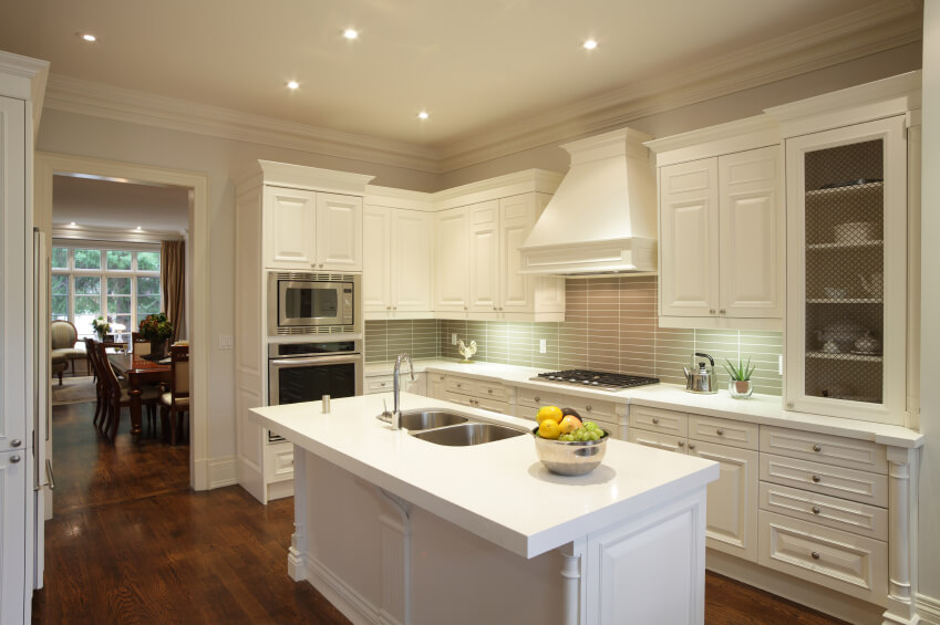A Contemporary Kitchen In White And Cream With A Bold Striped Backsplash The Details On
