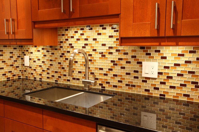 Kitchen Backsplash Yellow Diamond Pattern