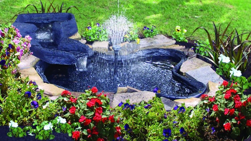 A Simple Bright Blue Garden Pond With A Tall Center Fountain. Small Enough  To Fit