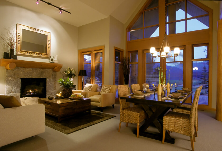 an elegant great room combining a formal living room with an adjacent dining area - Great Home Designs