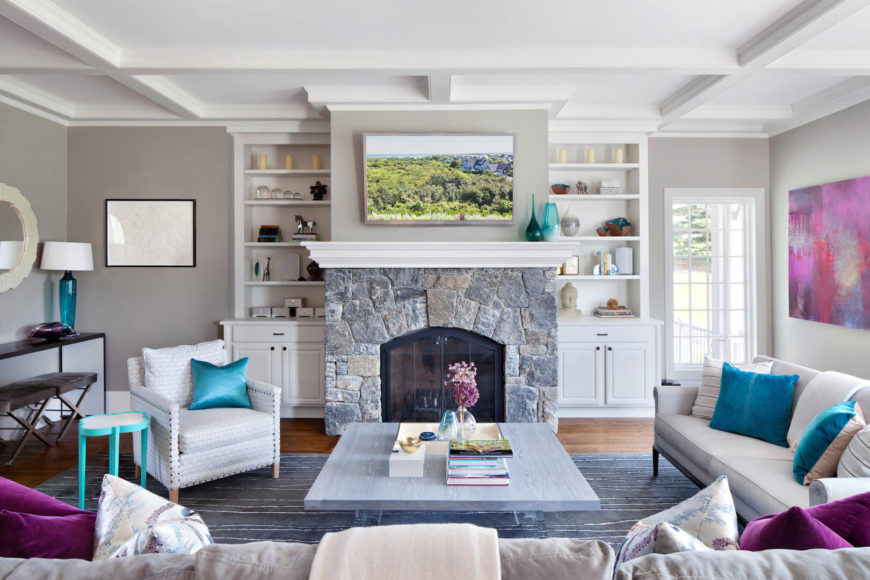 Beau Another Shot Of The Living Room Featuring The Stone Fireplace And Built In  Bookcases On