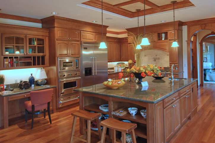 Quaint Contemporary Country Kitchen With A Wood Trim Tray Ceiling
