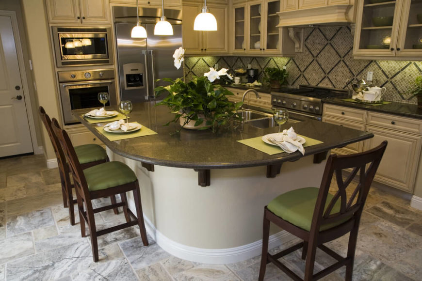 a beautiful elegant kitchen with accents of olive green and a diamond patterned backsplash - Small Kitchen Layout Ideas With Island
