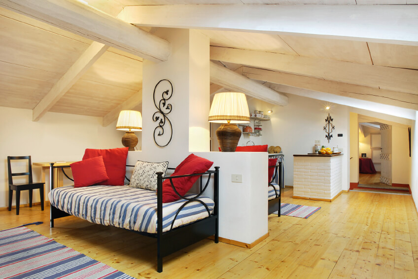 Living And Family Room Ideas Part - 50: This Attic Has Been Converted Into A Multi-functional Apartment Space, With  A Pair