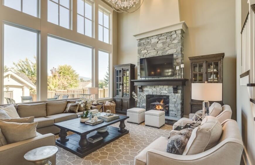 36 extravagant living rooms by top interior designers Indoor Grey Stone Fireplace Gray Stone Tile Backsplash