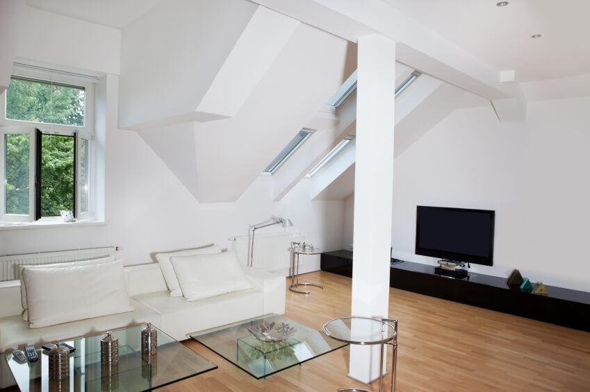 furniture attic. A View Of The Right Side Room With Skylights And An Entertainment Center Furniture Attic