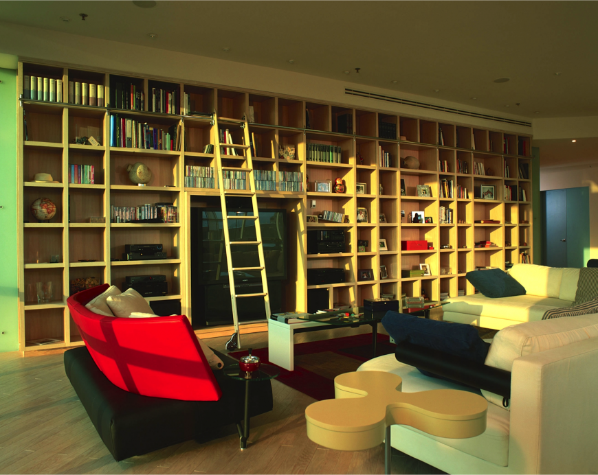 a view of the above living room from the windows showing the interesting shapes of