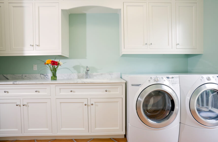 Unfinished bathroom vanities cheap cheap cheap - Pretty Laundry Room In Soft Mint And Pristine White With Small