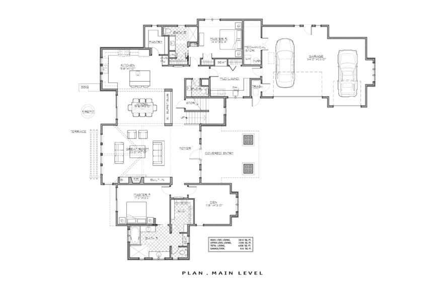 The floor plan for the main level, showing the layout of the home's rooms.