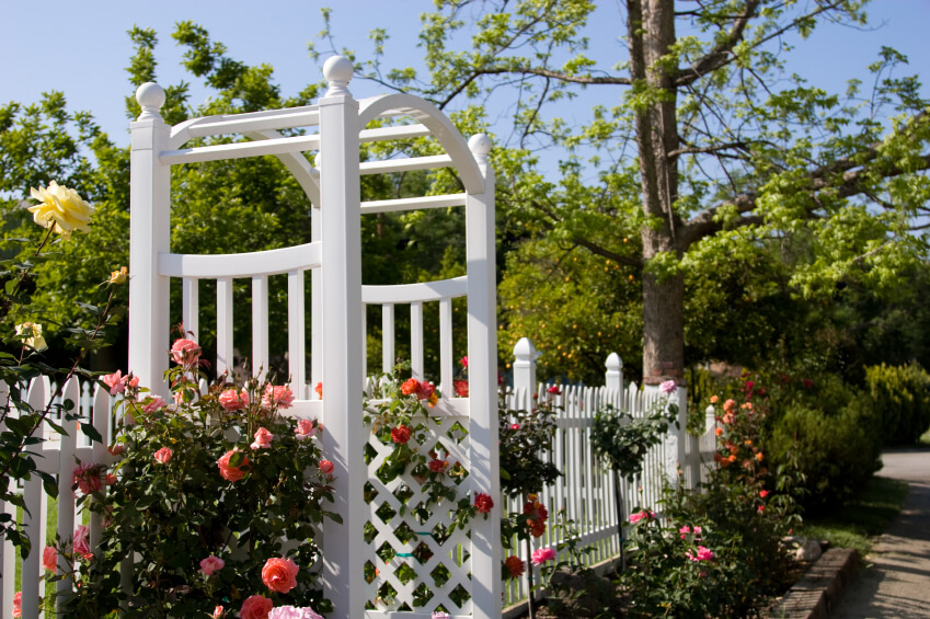 Trellis Gardening Ideas Part - 23: Arbor And Picket Fence