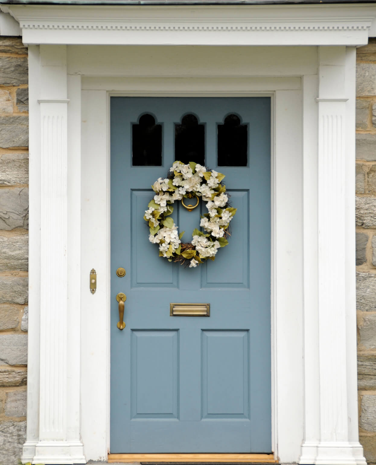 Dark blue front doors - This House Has Stone Front Exterior It Has A Light Teal Blue Colored Front Door