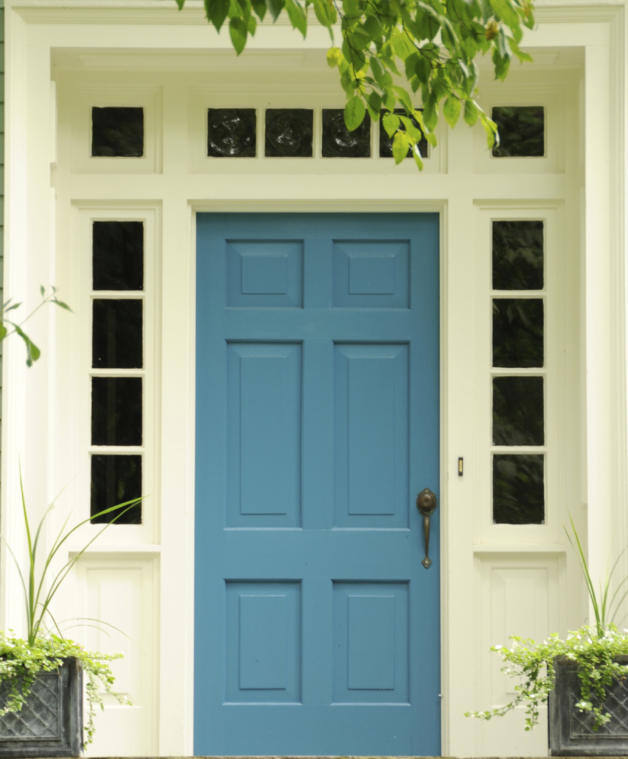 Bon This Blue Front Door Has A Brass Key Entrance Door Knob And A Brass Handle