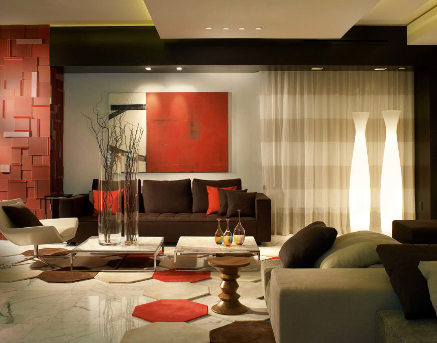 The Modern Living Room Has A Color Palette Of Taupe, Chocolate Brown And  Bright Primary Part 39