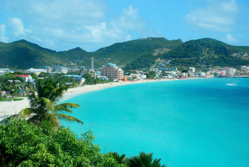 The Great Bay Beach of Sint Maarten is a tourist beach near the capital of Sint Maarten. The shallow waters extend far off the shore and are decadently warm and relaxing.