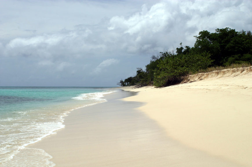 A beautiful, pristine beach just offshore of St. Croix on Buck Island. The island was declared a national monument by President Kennedy, and the coral reefs, deep grottos, and undersea labyrinths are great activities for more experienced scuba divers.