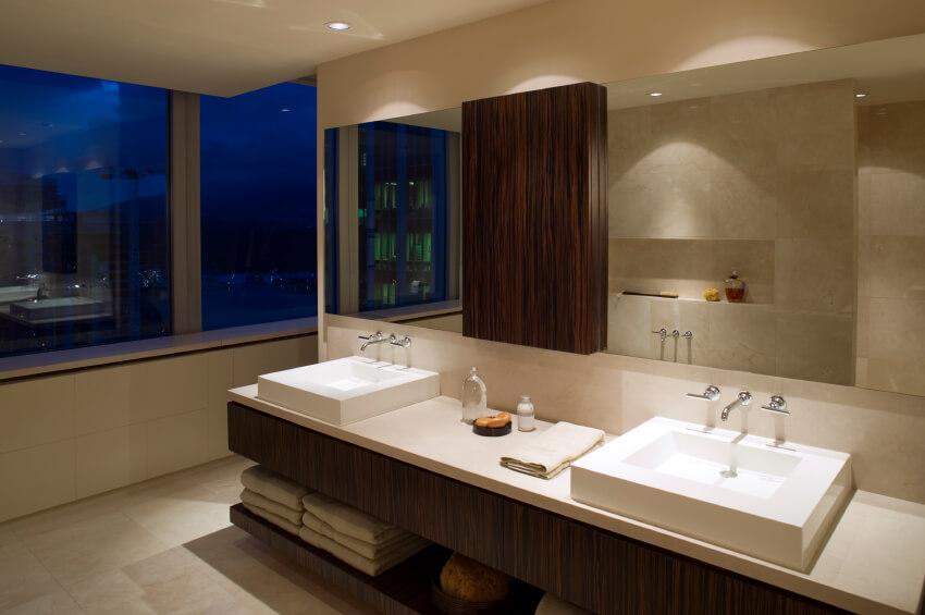 36 master bathrooms with double sink vanities pictures - Guide massive bathroom lighting optimum illumination ...