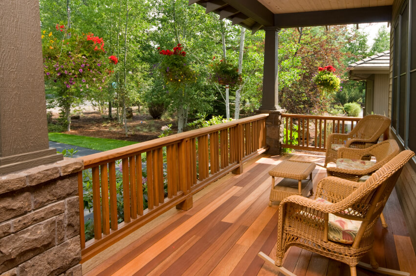 The Multi Tonal Wood Decking Of This Shallow Covered Porch Creates An  Elegant And Rustic