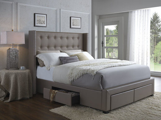 25 incredible queen sized beds with storage drawers underneath for Upholstered bed with drawers