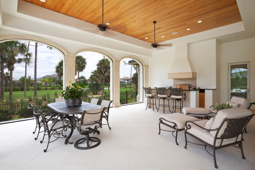 55 luxurious covered patio ideas pictures for Covered porch flooring options