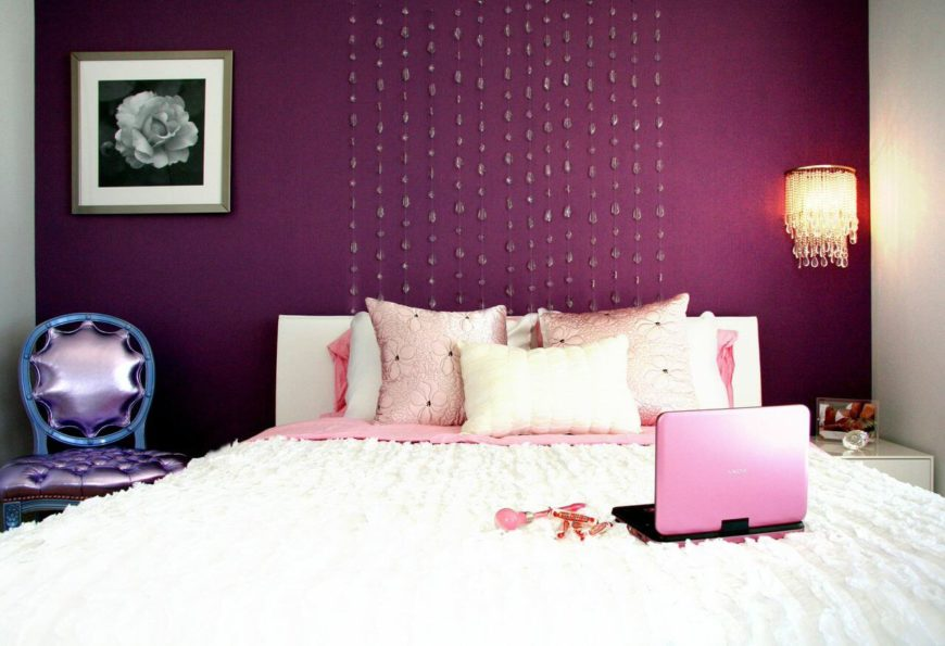 While The Above Bedroom Is Sheer White, This Bedroom Has A Gorgeous Bold  Purple Accent
