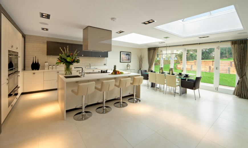 Good This Kitchen Is Very Classy And Designed With Style In Mind. Two Large  Skylights Enhance