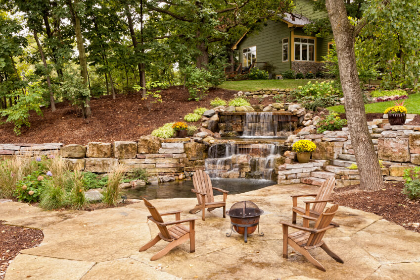 50 Pictures of Backyard Garden Waterfalls (Ideas & Designs) on Tiered Yard Ideas id=50536