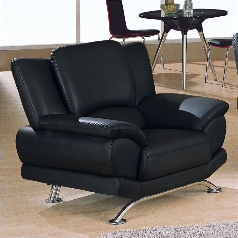 This Sharply Modern Design, Echoing A Previous Chair, Features All Black  Leather Upholstery