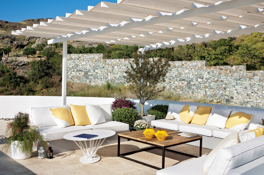 The Pergola Above This Simple Patio Has A Crinkled Edge That Adds A Bit Of  Visual